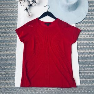 fever | Red Crochet Short Sleeve Top XL